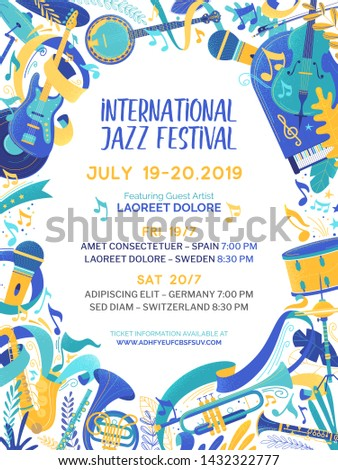 International music contest poster vector template. Jazz and blues festival promotional web banner with text space. Country, folk and rock concert brochure. Cultural event advertising flyer layout