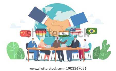 International Negotiations, Diplomacy, Political Meeting at Round Table Concept. Delegates Solving World Issues, Spokesmen Discussing, Shake Hands on Press Conference. Cartoon Flat Vector Illustration Photo stock ©