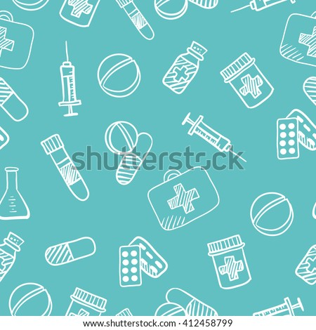 international nurse day card, pharmacy vector elements, seamless doodle pattern