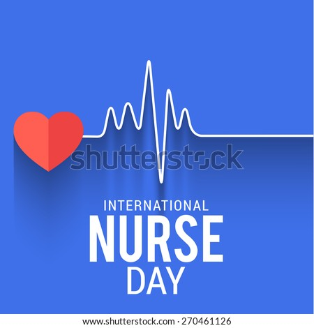 International nurse day concept with illustration of heart with heartbeat..