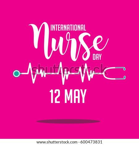 International Nurse Day heartbeat and stethoscope design. EPS 10 vector.
