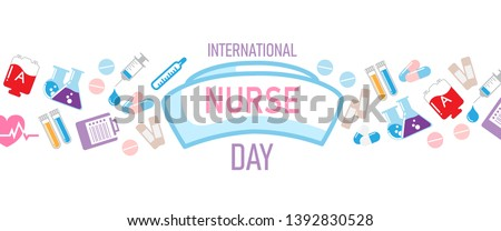 International nurse day lettering on big nurse hat and colorful icon and object of medical nursing isolate on white background. Web banner vector design of International nurse day.
