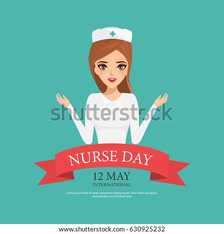 International Nurse Day with beautiful woman character. illustratoin vector of people in occupation.
