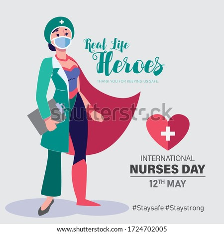 International Nurses Day vector. May 12th International Nurses Day thank you card. Nurse as a super hero character. Thank you doctors and nurses vector.