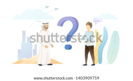 International partnership flat vector illustration. Arabian business concept. Foreigner asking, talking with muslim man isolated cartoon characters. UAE business partner. Traveler with islamic person.