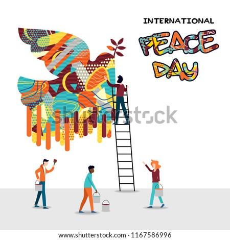International peace day card for world help and culture unity. Diverse friend group teamwork illustration. EPS10 vector.