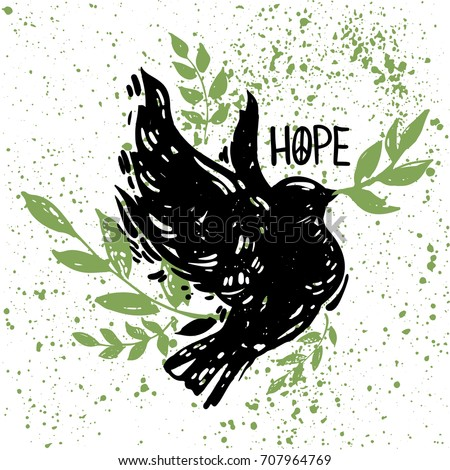 International peace day concept  poster with flying bird, florals and branches. Linocut style creative print. Hope lettering.