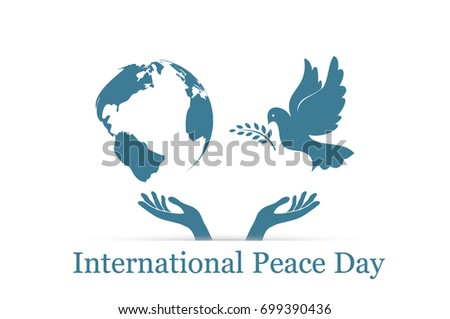 International Peace Day, dove, globe and hands raised up, card, vector illustration EPS 10