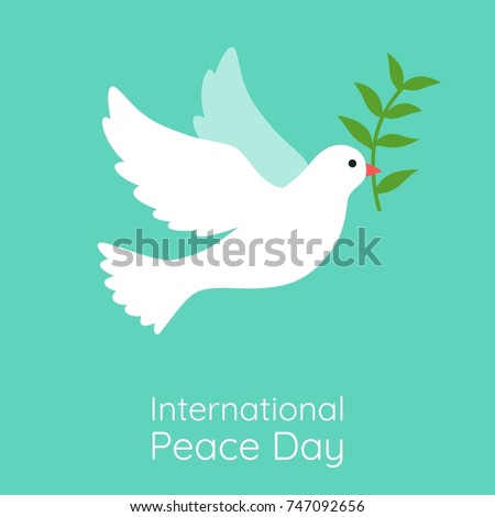 international peace day illustration, flying white dove with olive branch vector