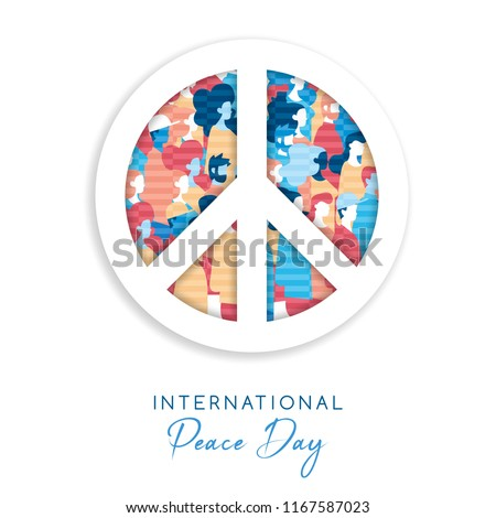 International Peace Day illustration in paper cut style for culture unity around the world. Symbol cutout with diverse people crowd. EPS10 vector.
