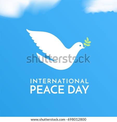 International Peace Day. Peace dove with olive brunch. Love, freedom, faith symbol. Bird's silhouette in the sky. 21 September holiday. Peaceful pigeon isolated on sky background. Vector illustration.