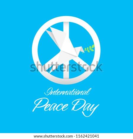 International Peace Day Peace Symbol Origami Dove Birds Vector Image