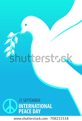 International Peace Day poster. 21 September. Dove with olive branch