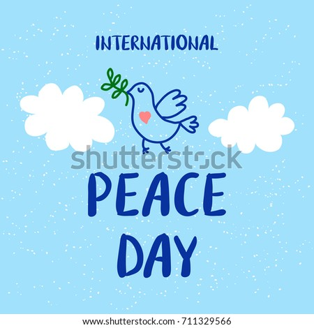 International Peace Day 21 september card with cute dove and olive branch