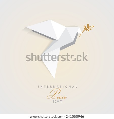 international peace day vector illustration of white origami dove bird with golden olive branch- peace symbol- flat design style