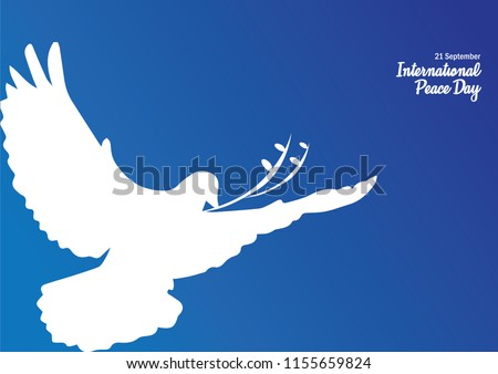 International peace day vector illustration. Vector background for International Day of peace. Concept illustration with dove of peace, olive branch and hand written text.