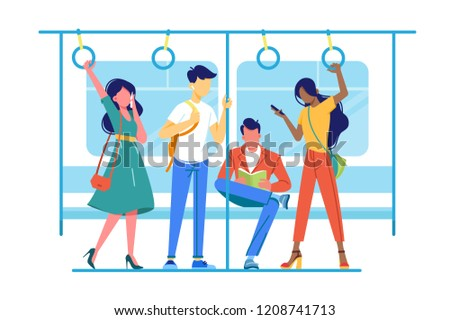 International people go to subway, underground about their business. Concept metro with man and woman, students and employee. Vector illustration.