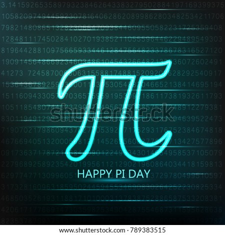 International Pi Day!  Mathematical constant number. Neon logo.Vector illustration.
