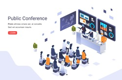 international public conference vector illustration with many participants sit in front of the interviewees. use for landing page, info graphic and other