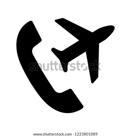 International roaming glyph icon. Flight mode. Handset with plane. Silhouette symbol. Negative space. Vector isolated illustration