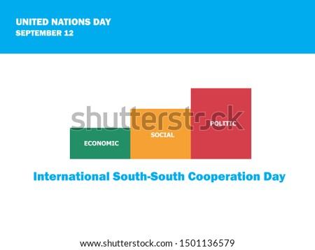 International South-South Cooperation Day on September 12 by United Nations. Vector Illustration, celebrates economic, social and political developments in many developing countries.