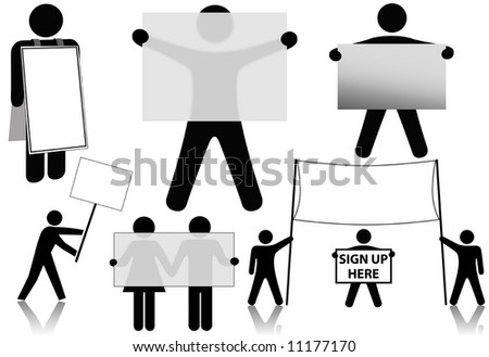 International symbol business people hold a set of advertising sign spaces: banner; sandwich board; picket sign.