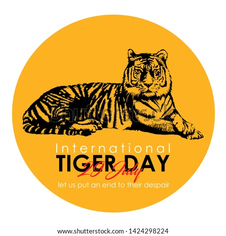 International Tiger day.July 29. Template for your design. Vector card with isolated flat style- Vector