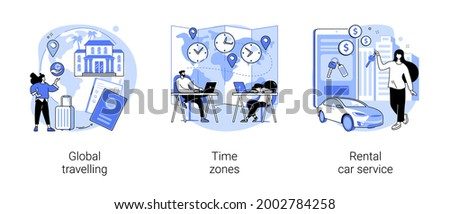 International tourism abstract concept vector illustration set. Global travelling, time zones, rental car service, travel agency, vacation resort chain, jet lag, online car booking abstract metaphor.