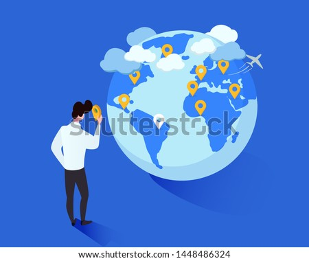 International tourism vector isometric illustration. Cartoon man placing geotags on globe cartoon character. Tourist planning future foreign trips destinations, traveler marking journeys wishlist