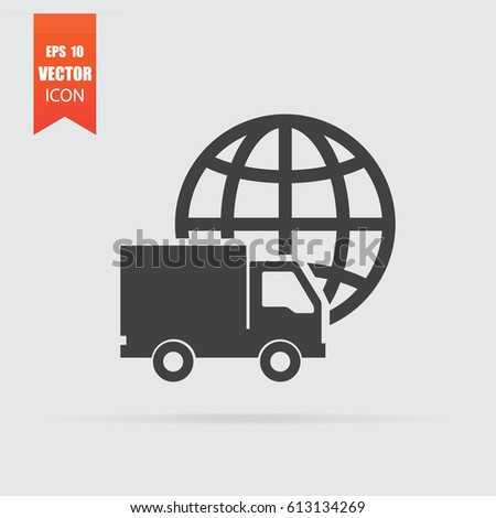 International transportation icon in flat style isolated on grey background. For your design, logo. Vector illustration.