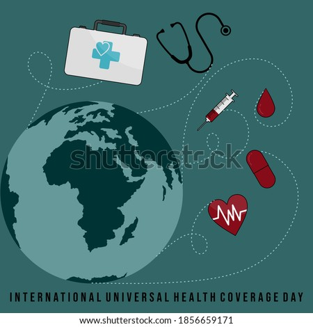 International Universal Health Coverage Day with Flying medical exam design. Good template for health or medical design. Foto stock ©