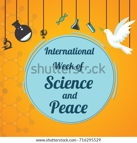 International Week of Science and Peace, IWOSP. Science laboratory equipment and white dove conceptual illustration vector.