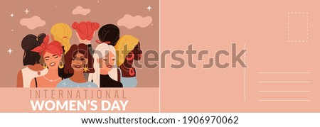 International woman's day card. Multiethnic women portraits, beautiful young girls, holiday letter template with congratulation text. Vector postcard or greeting card mockup in modern cartoon style