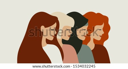 International women day. Diverse female portraits of different nationalities and cultures isolated from the background. The concept of the women's empowerment movement.