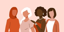 International Women's Day banner, poster, card. Diverse women standing together for feminism, freedom, independence, empowerment, women rights, equality. Women's friendship, sisterhood, activism
