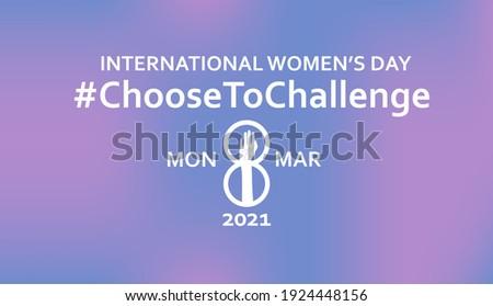 International women's day 2021 campaign theme: #ChooseToChallenge. 8th march. Horizontal poster. Vector illustration. Eps 10