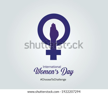 International women's day concept. Woman sign illustration background. Happy women's day vector illustration. 2021 women's day campaign theme- Choose To Challenge.