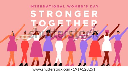 International women's day event greeting card illustration. Modern flat cartoon woman characters together for march 8 women rights holiday. Strong girls at female right protest or parade.