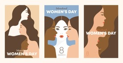 International Women's Day. Female diverse faces of different ethnicity poster. Women empowerment movement pattern. Vector templates for card, poster, flyer and other users.