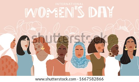 International Women's Day greeting banner. Abstract woman portrait different nationalities on floral linear background. Girl power, struggle for equality, feminism, sisterhood concept. Vector.