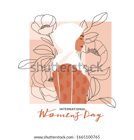 International Women's Day greeting card. Abstract arabic muslim woman portrait with one line flowers and leaves. Women empowerment. Vector illustration.