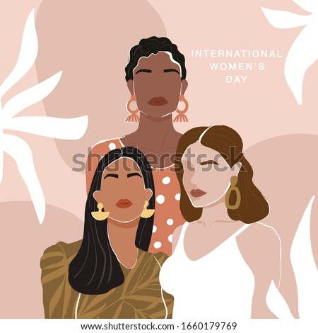 International Women's Day greeting card. Abstract woman portrait different nationalities on geometric background. Girl power, struggle for equality, feminism, sisterhood concept. Vector illustration.
