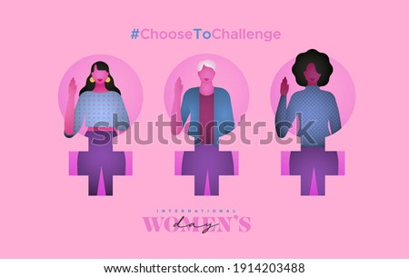 International Women's Day greeting card illustration. Choose to challenge campaign design for female rights event. Diverse woman group holding hand raised up.