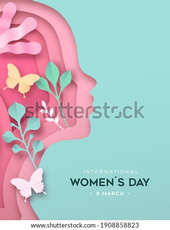 International Women's Day greeting card illustration. Pink woman silhouette in modern papercut style with paper leaf and butterfly. Women rights movement holiday event design.