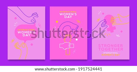 International Women's Day greeting card illustration set of woman hands helping each other. Girl teamwork concept, modern flat cartoon outline arms with trendy minimalist geometric shapes.