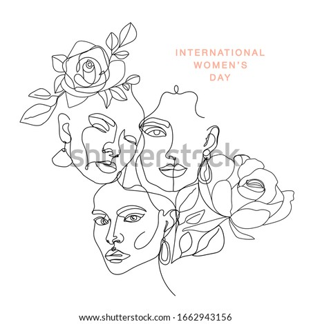 International Women's Day greeting card. Illustration with one line woman face, flowers and leaves.  Women empowerment. Vector illustration.