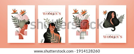 International Women's Day greeting card set, beautiful diverse woman characters with modern minimalist nature decoration and tropical flower for march 8 female rights campaign.