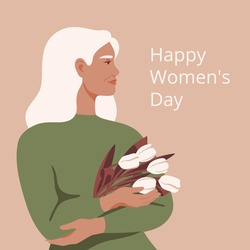 International Women's day greeting card with beautiful mature woman holding a bouquet of white tulips. Festive Vector concept of pastel colors with adult woman and spring flowers for Mother's day