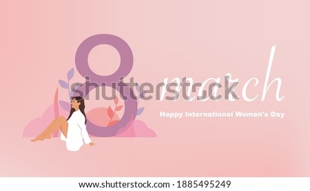 International women's day 2021. 8 march background. The girl sitting near the number eight. Vector illustration.