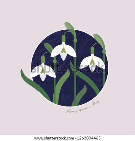 International Women's Day 8 March. Floral spring background of spring flowers snowdrops. Flat illustration for use as logos, for greeting card. Snowdrops on a circle